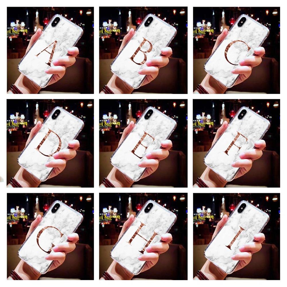 Letter Monogram A B C D white marble Soft TPU Phone Case For iphone 5S 5 SE 6 6s Plus 7 7Plus 8 8Plus X XS Max XR