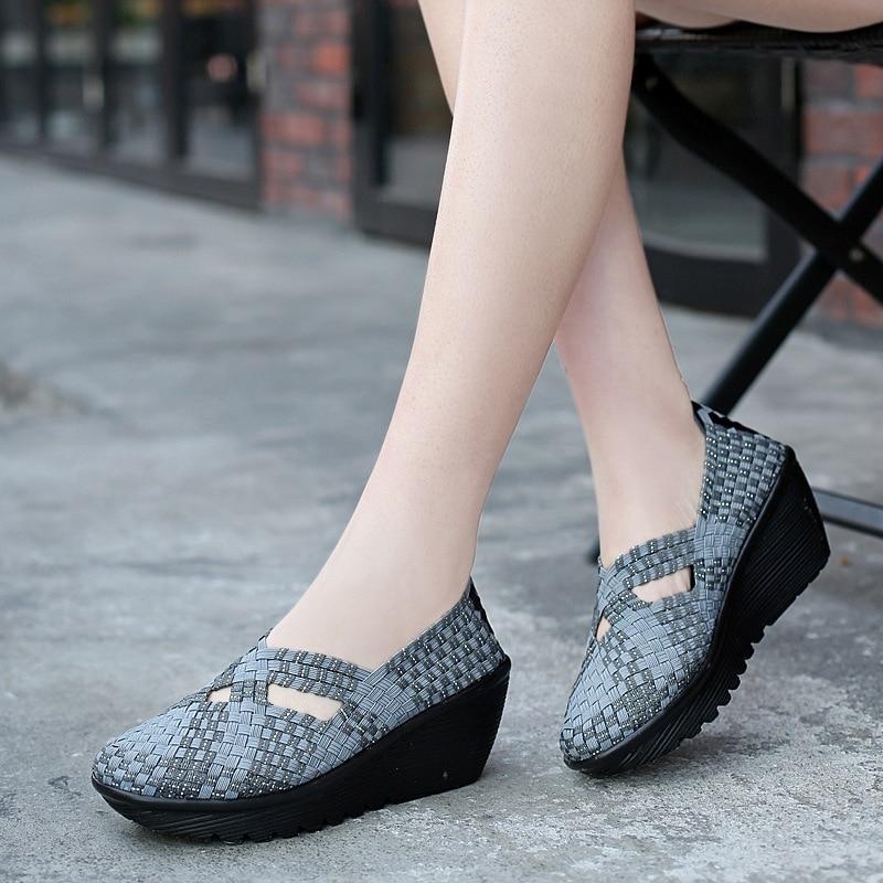 LI-WX8 جديد أحذية منسوجة أحذية نسائية سميكة وحيد المنحدر كعب الكعك الأحذية تنوعا أمي مريحة أحذية كاجوال