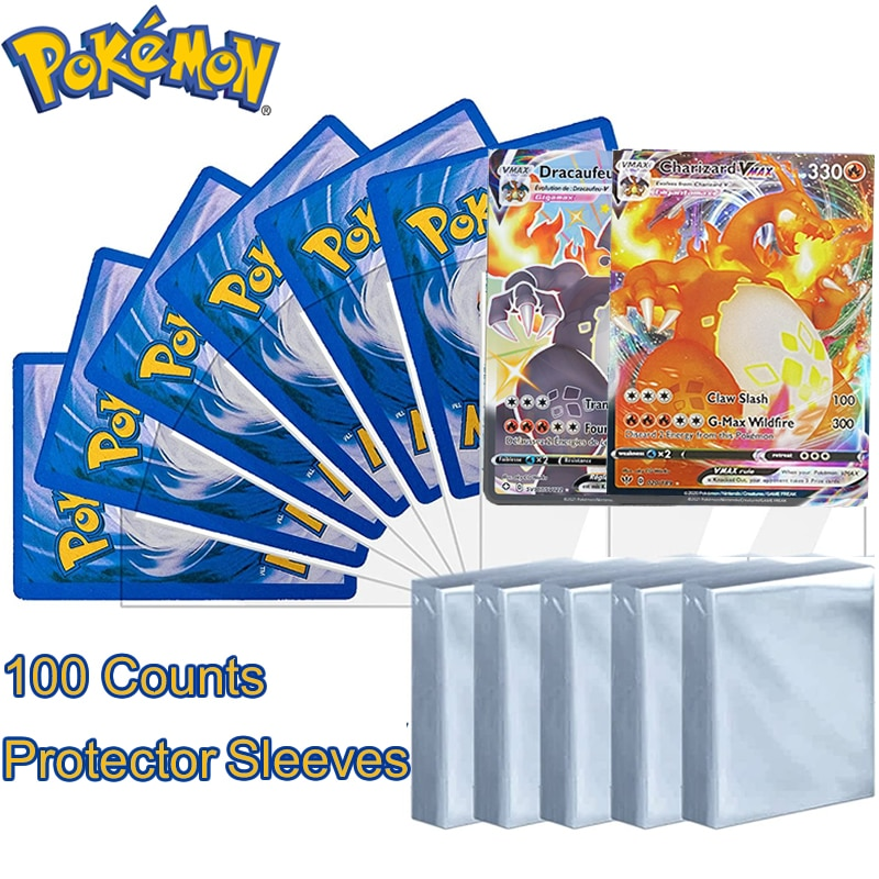 AliExpress - 100 Counts Pokemon Card Sleeves Transparent Protector Cards Playing Games VMAX Yugioh Pokémon Case Holder Folder Kids Toy Gift