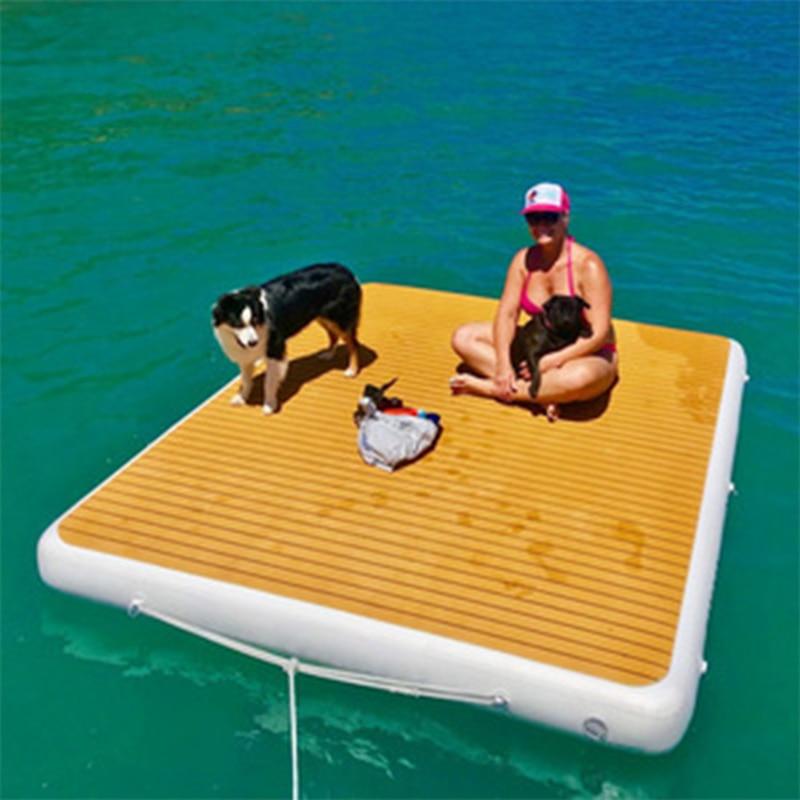 حوض عائم قابل للنفخ للبحيرات-منصة عائمة كبيرة حوض سباحة 6 بوصة سميكة مع مضخة هواء كهربائية للبحيرة