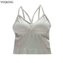 VEQKING Long Yoga Sports Bra superior Sexy Sleeping Camis chaleco camiseta sin mangas acolchado deportes superior transpirable Sujetador deportivo para mujeres