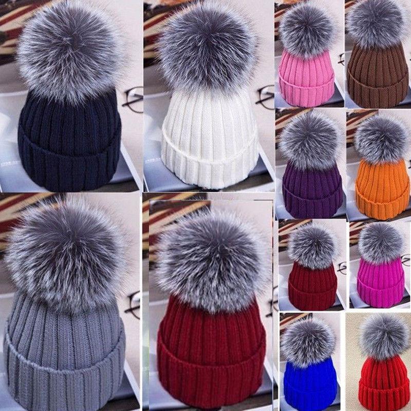 Women Ladies Warm Winter Beanie Large Faux Fur Pom Pom Bobble Hat Knitted Ski Cap Causal Cap faux leather pom pom crossbody bag