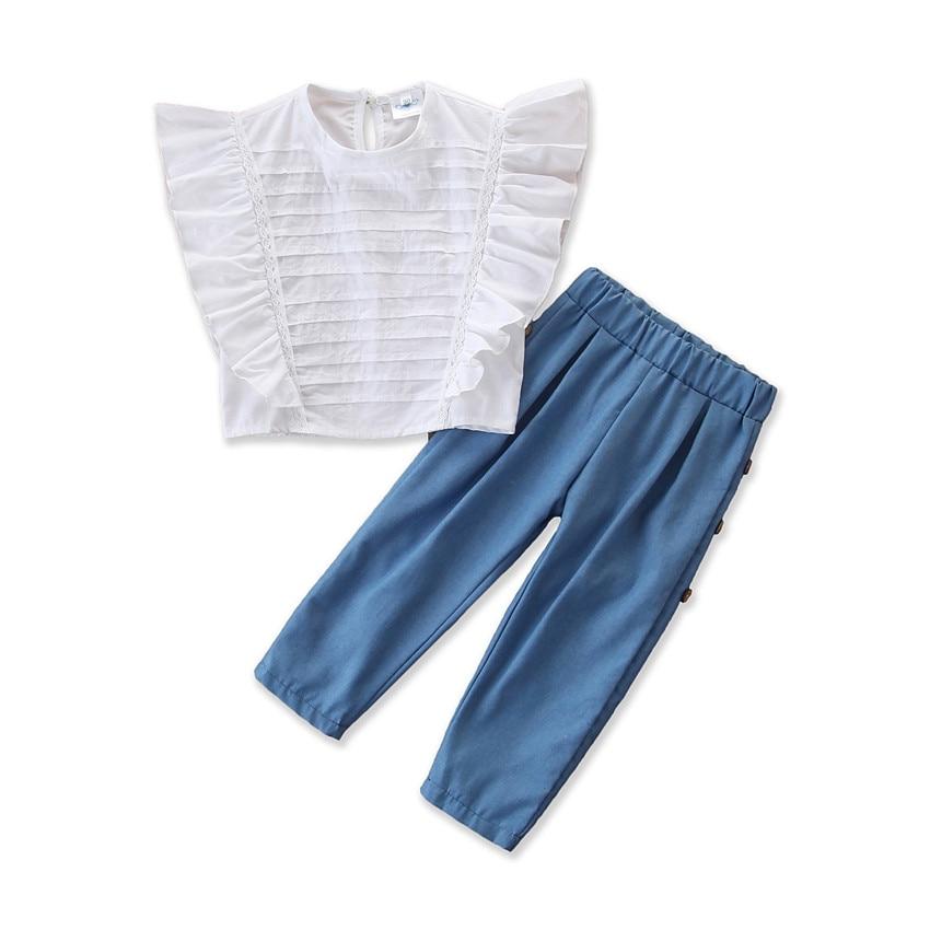 Conjunto de ropa de moda para niños y niñas, Camisa sin mangas de verano 2020, blusa informal holgada de cintura atada, blusas elegantes, pantalón largo
