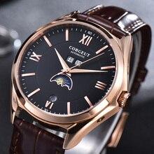 Corgeut 41mm automatique hommes montre de luxe marque lune Phase Date mois étanche horloge bracelet en cuir montre-bracelet hommes