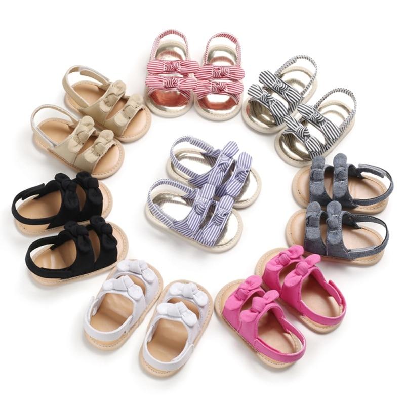¡Oferta! Zapatos de bebé, sandalias de verano para niñas, zapatos a la moda para recién nacidos, sandalias de encaje con puntos para niñas, sandalias de playa a cuadros, zapatos de princesa