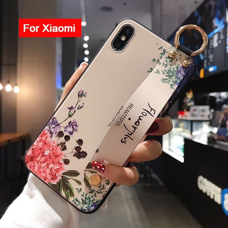 Moda bilek kayışı durumda Redmi için not 8 Pro 5A 6 7 K20 Pro 4X kılıfı için Xiaomi 8 9 a3 Lite çiçek tavşan TPU telefon tutucu kılıf