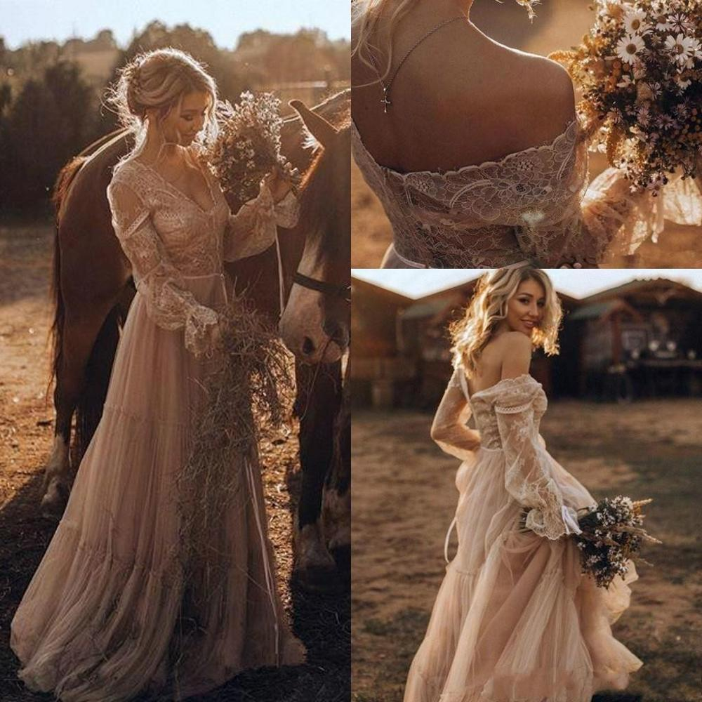 Country Style Vintage Plus Size A Line Wedding Dresses Off Shoulder Lace Appliques Long Sleeves Tulle Wedding Bridal Gowns недорого