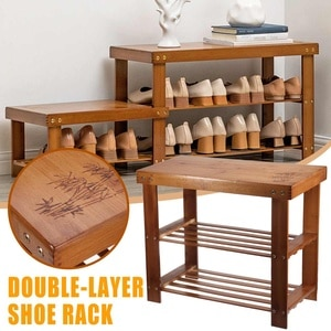 2 Layer Modern Bamboo Multi Function Shoe Rack Storage Organiser shoes Bench Shelf Stand Multi-purpose Change Shoes Stool