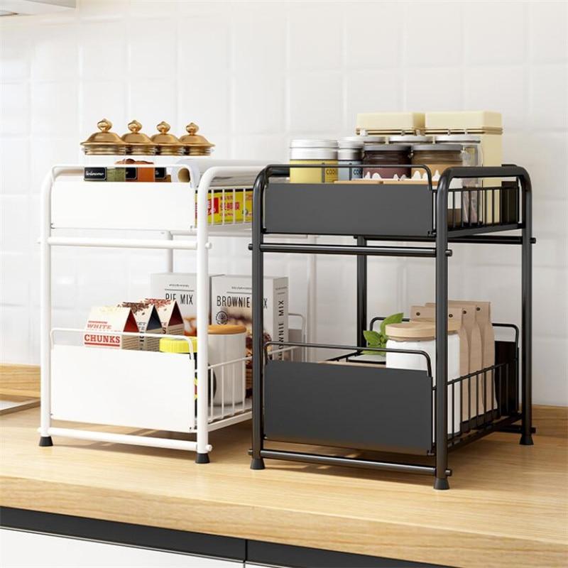 المعادن المطبخ تخزين الرف درج منظم المطبخ الحمام تخزين سحب تحت بالوعة سطح المكتب خزانة سلة