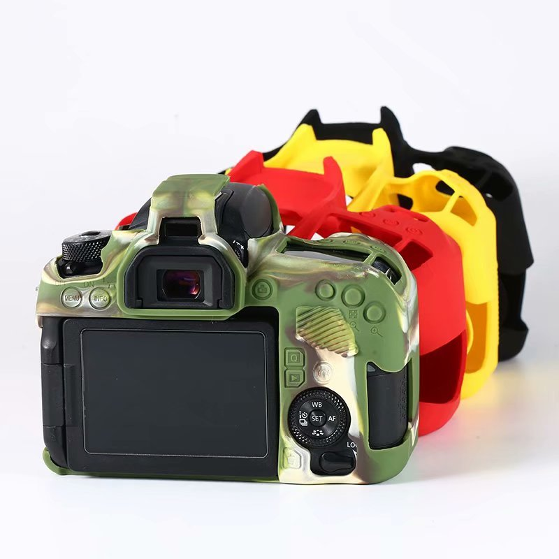 Agradável câmera de borracha de silicone macio capa protetora do corpo caso pele para canon 5d mark iii 5d3 5d4 6d 6d2 70d 77d 200d ii saco da câmera