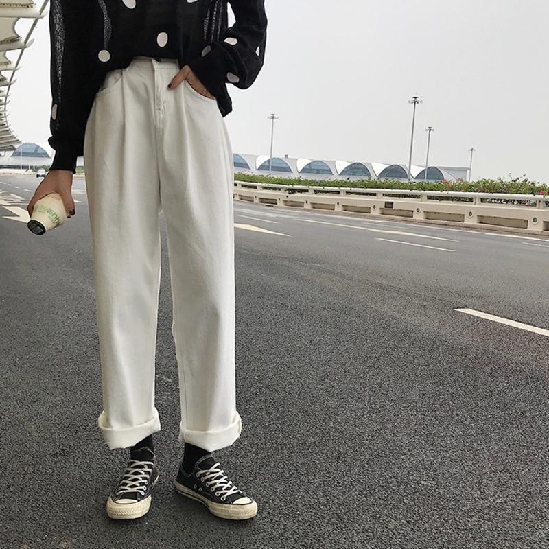 بنطلون جينز كوري فضفاض عالي الخصر لون سادة للنساء ربيع 2021 بنطال ذو قصة أرجل واسعة سراويل مستقيمة للطلاب