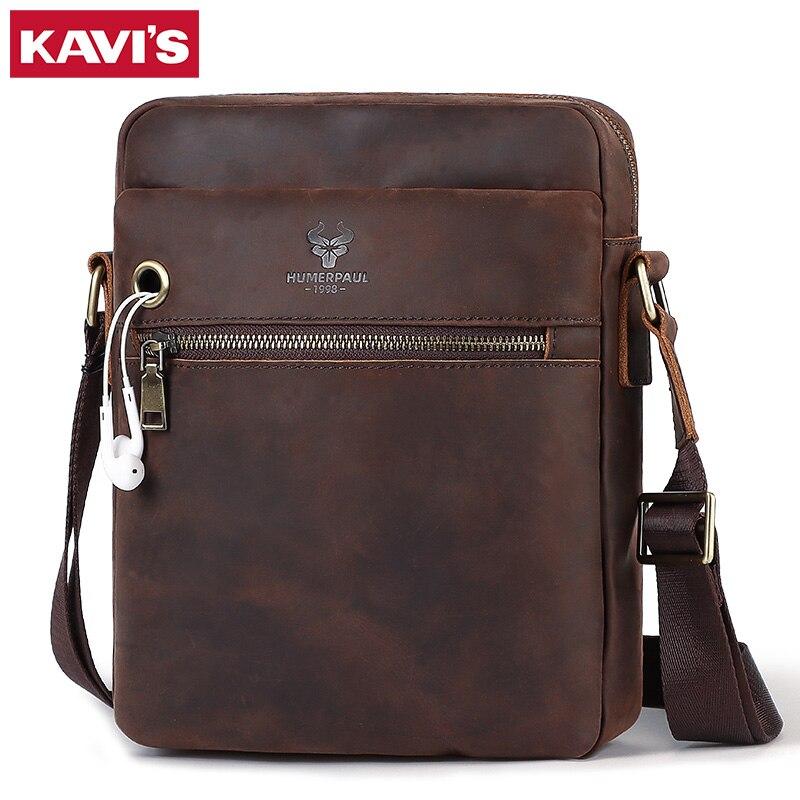 Kavis 2020 crazy horse crossbody bolsa de ombro dos homens couro genuíno marca luxo masculino saco do mensageiro com fone ouvido buraco para meninos