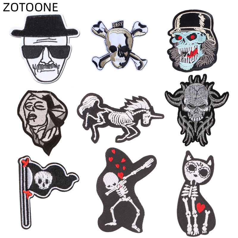 ZOTOONE Skull Patch Iron on Heat Transfer for Clothes Jeans Sew on Animal Badge DIY Embroidered Patches for Pants Applique G