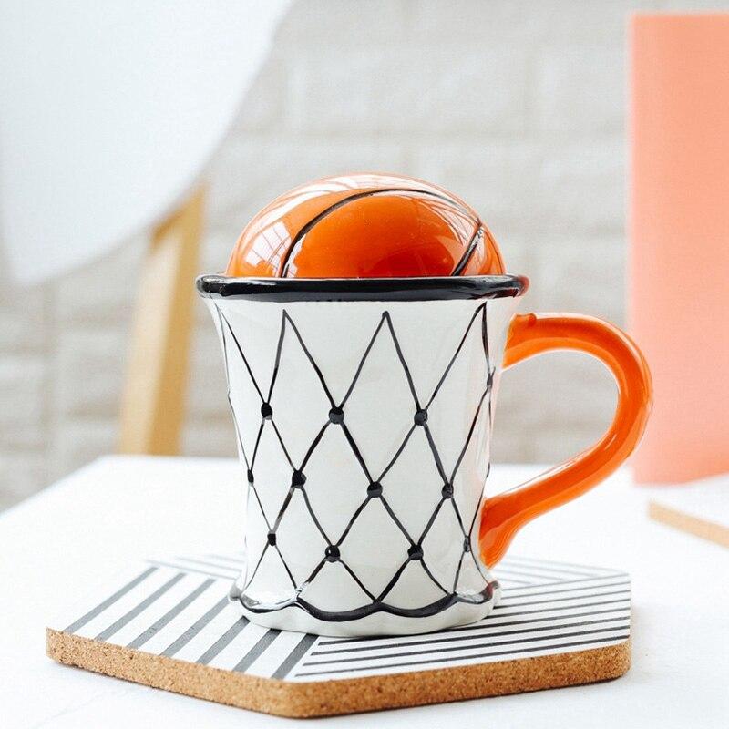 Nuevo-taza creativa linda del café de la leche del baloncesto del patrón del desayuno de la harina de hielo del helado del té taza de café con la mano de agarre