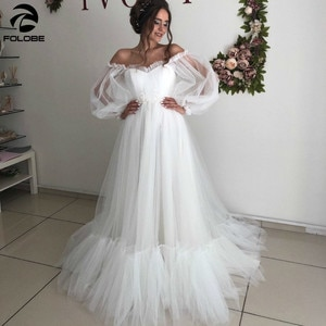Latest Deaign Wedding Dresses Sweetheart Off Shoulder Backless Appliques Lace Pleated Ruffles long Sleeve A-line Bridal Gowns