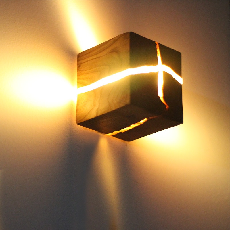 G4 متصدع الخشب الحبوب الجدار مصباح الممر مصباح الإبداعية مربع خشب متين أباجورة جدار غرفة نوم ديكور