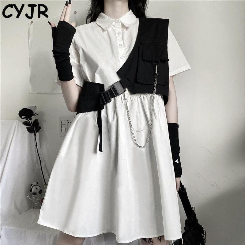 Women Sets Solid Sweet Knee-length Korean-style Dresses Chain Stylish Street-wear Vest Fashion Club-wear Cool Girls Ulzzang Chic