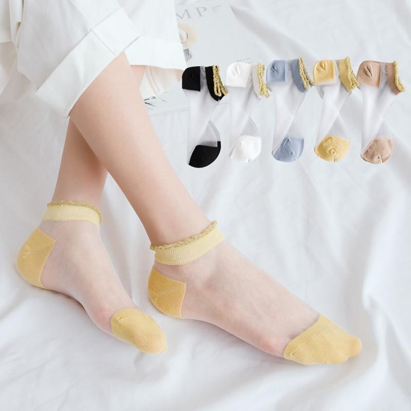 White Frilly Girls Sheer Ruffle Ankle Socks Target Women Black Cute Ultra Sheer Tulle Fashion Lace Dress Socks Mesh Transparent