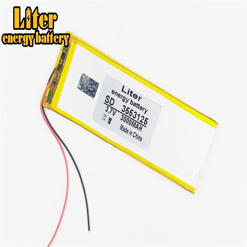 Celda de iones de litio recargable, batería de litio de polímero de 3,7 V 3553125 3000mah con PCB para tableta DVD, GPS, PDA, juguetes eléctricos