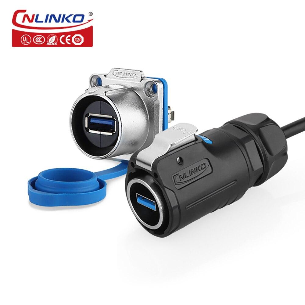 CNLINKO M24 USB3.0 1.5A مقاوم للماء IP67 التوصيل لوحة مقابس جبل usb موصل شاحن قابل للسحب كابل دائم مع كابل 0.5 متر