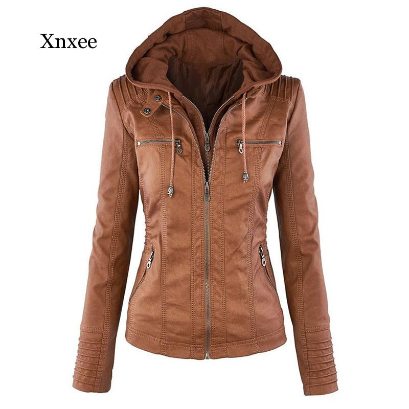 Куртка женская из искусственной мягкой кожи, мотоциклетная уличная одежда на молнии из искусственной кожи, теплая уличная одежда цвета хак...