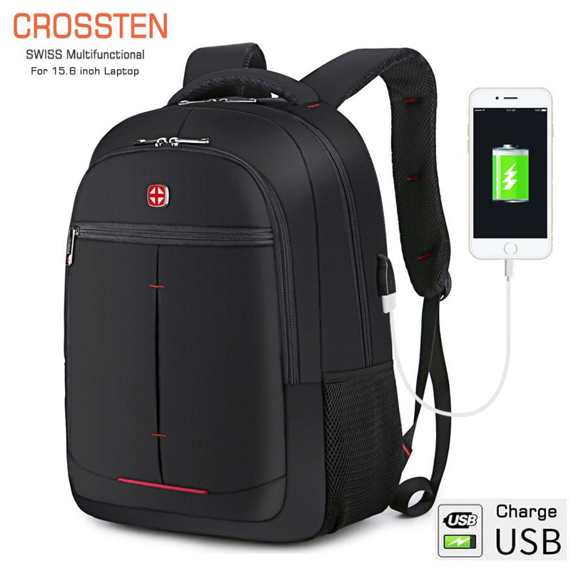"Crossten multifuncional 15,6 ""Laptop mochila funda bolsa puerto de carga USB Bolsa Escolar senderismo viaje bolsas escolares"