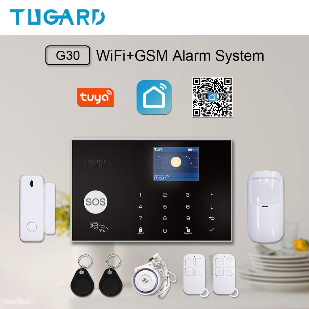 TUGARD Tuya Smart WiFi 2G GSM Home Security Alarm System 433MHz Wireless Burglar Alarm Kit Android Ios System APP Remote Control