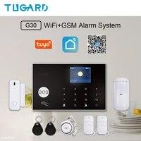 TUGARD     Kit systeme dalarme de securite domestique intelligent Tuya  wi-fi  GSM 2G  433MHz  anti-cambriolage  sans fil  Android Ios  telecommande avec application