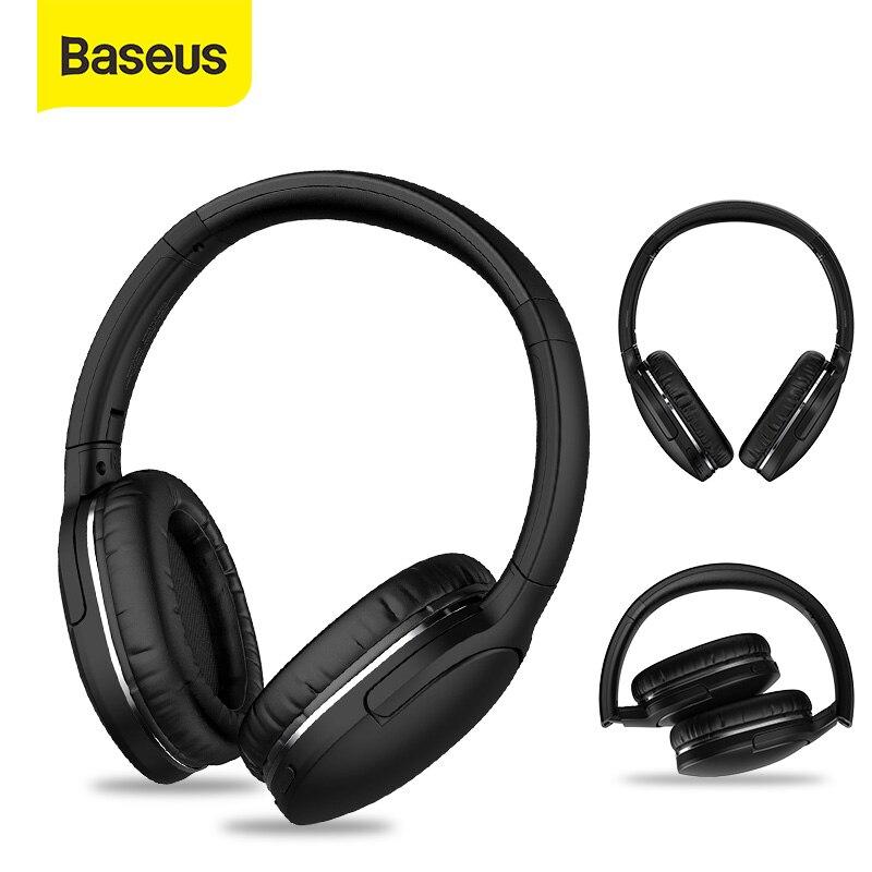 Baseus-سماعة رأس لاسلكية D02 Pro مزودة بتقنية البلوتوث وجهاز HIFI استريو رياضي قابل للطي مع كابل صوت لأجهزة iphone والأجهزة اللوحية