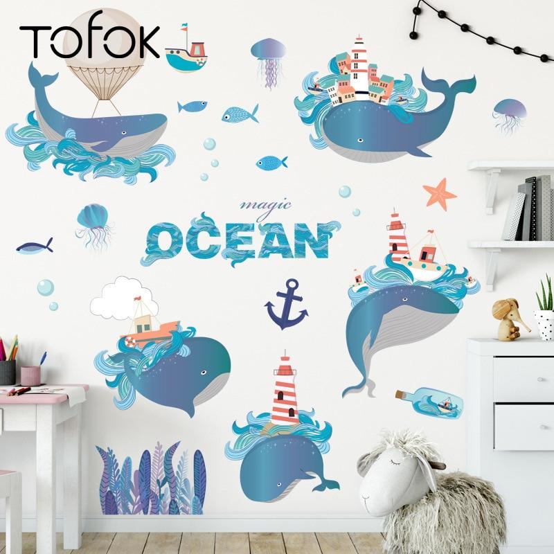 Tofok, pegatina de pared de delfín de fantasía azul de dibujos animados, autoadhesiva para el hogar, sala infantil niños, decoración de PVC, pegatinas de ventana para nevera
