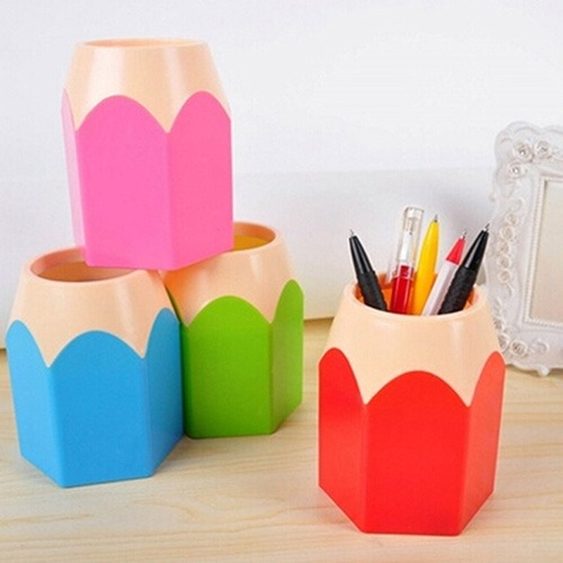 AliExpress - Creative Pen Vase Pencil Pot Makeup Brush Holder Stationery Desk Tidy Plastic Desk Organizer Container School Office Supplies