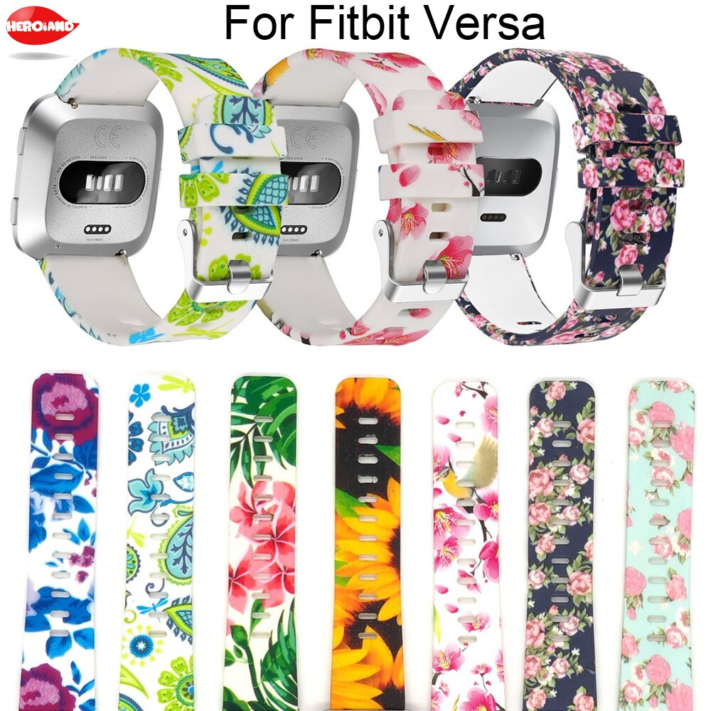 floral printed strap for fitbit versa band silicone flower bracelet fitbit versa replacement bands bracelet wristband watchbands Smart Watch strap band for Fitbit Versa 2 Watch Replacement Accessories Bracelet Wristband for Fitbit Versa lite Watchband bands