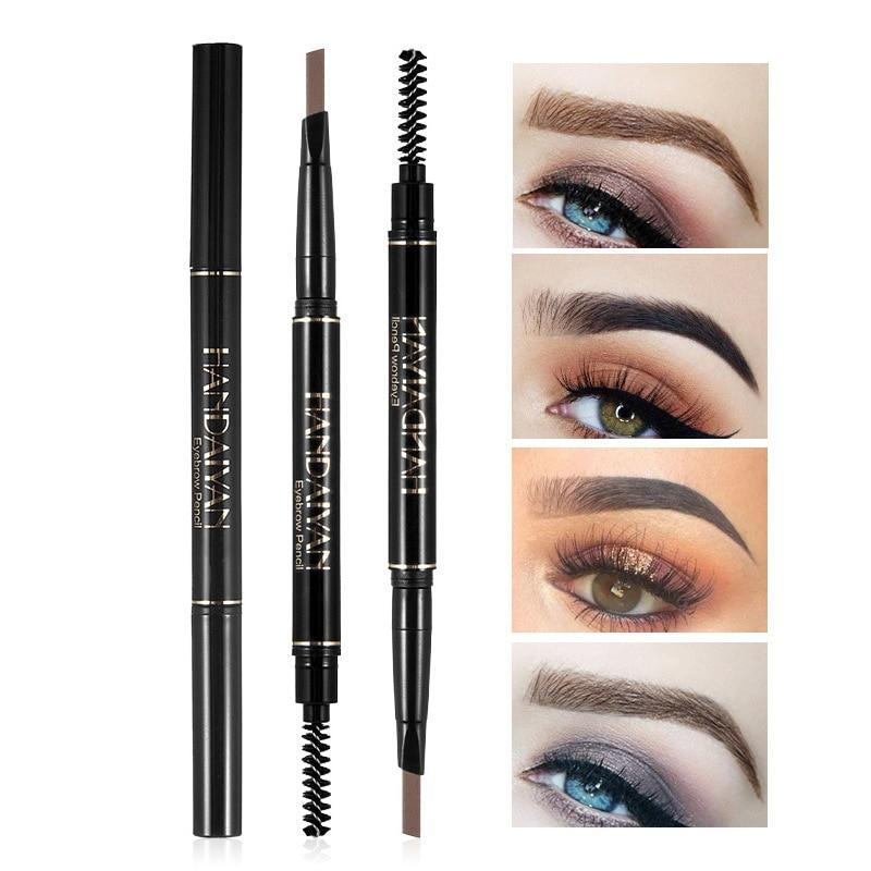 Hot Sale Eyebrow Pencil With Brush Natural Long Lasting Waterproof Black Brown Eye brow Makeup Double-Head Eyebrow Pencil TSLM1