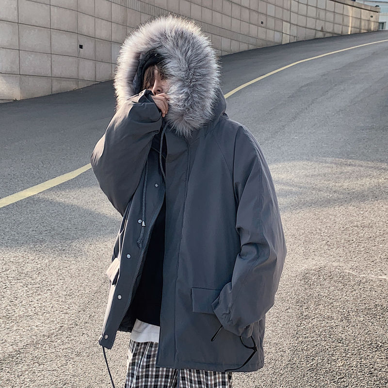 Мужская зимняя куртка с большим меховым воротником, однотонная парная хлопковая куртка, Корейская версия, свободная и плотная Студенческая...