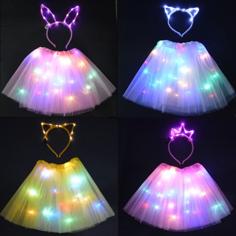 Светодиодный светильник, светящаяся юбка-пачка, головная повязка с кошачьими ушками и кроликами, неоновые вечерние, подарок на день рождени...