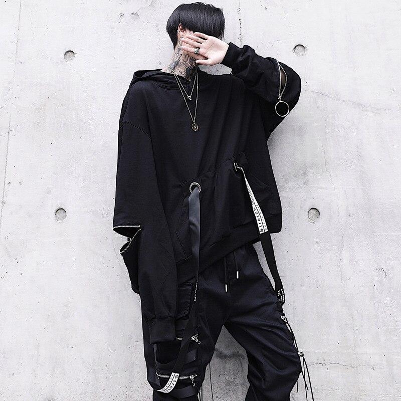 Уникальные мужские черные толстовки с капюшоном, большие размеры, модные толстовки с лентами, мужские хип-хоп уличные мешковатые пуловеры, ...