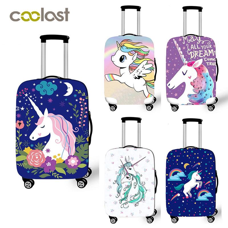 Maleta rosa de 18-32 pulgadas con cubierta protectora de unicornio de dibujos animados cubierta de equipaje cubierta de carrito de viaje elástica accesorios de viaje