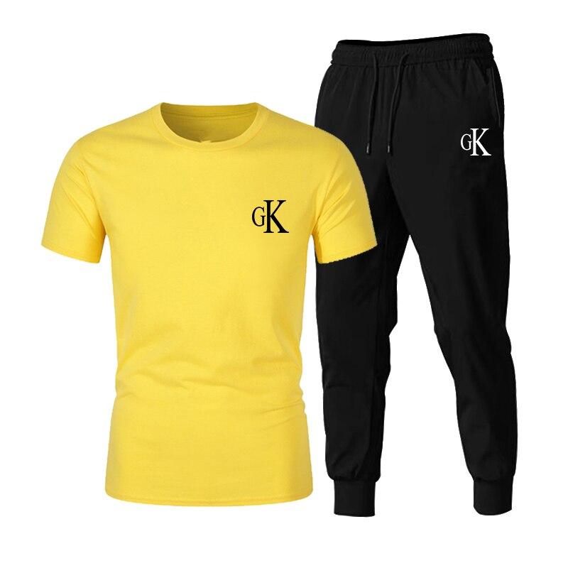 2021New تي شيرت 2 قطعة مجموعات رياضية GK الطباعة الرجال قصيرة الأكمام السراويل البلوز ملابس رياضية غير رسمية الرياضة الرجال الملابس