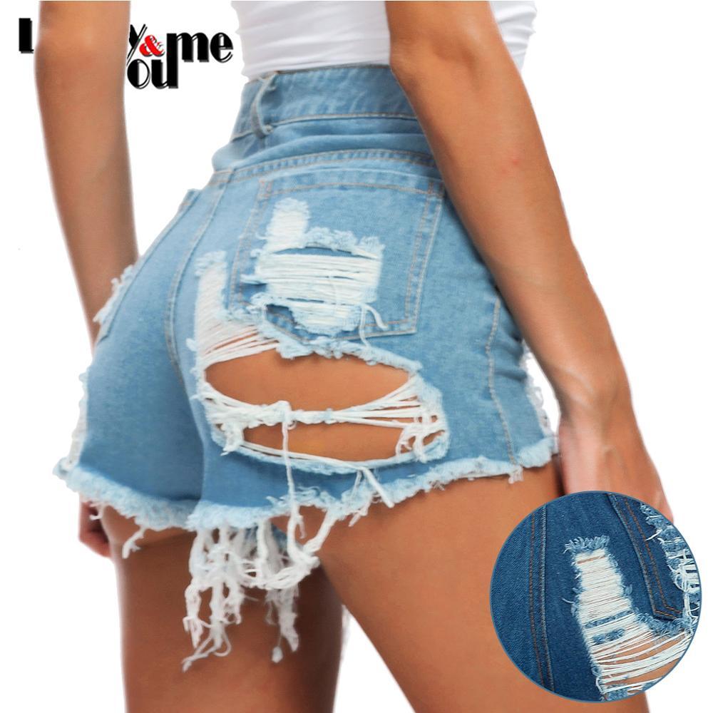 2020 New Arrive Womens Summer Sexy Skinny Handwork Hole Tassel Denim Shorts Girls Streetwear Blue Sexy Denim Zipper Fly Shorts