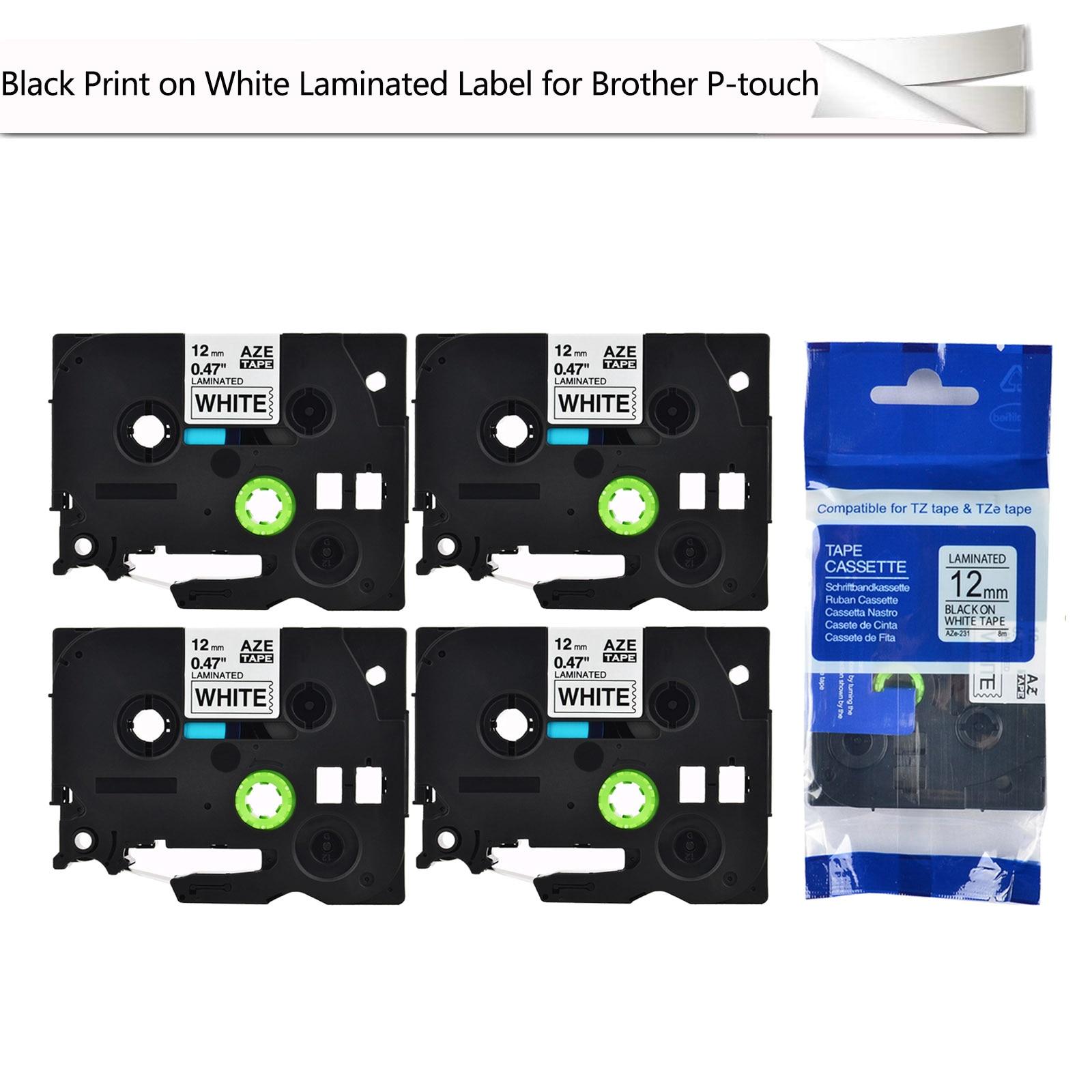"""4 Uds. Impresión negra laminada en blanco 0,47 """"cinta de etiquetas 12mm x 8m Compatible con Brother Labelmaker 1/2"""" TZe-231 TZe231 Tz-231"""