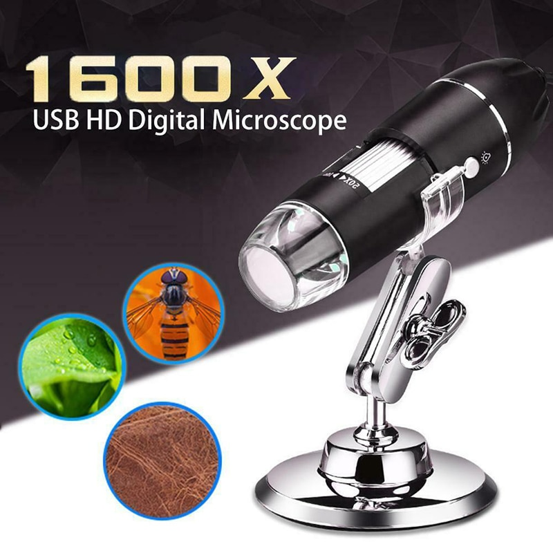 Microscópio digital eletrônico 1600x, microscópio digital hd usb digital portátil 3 em 1 lupa 8 led estéreo para win xp/7/8/10/mac