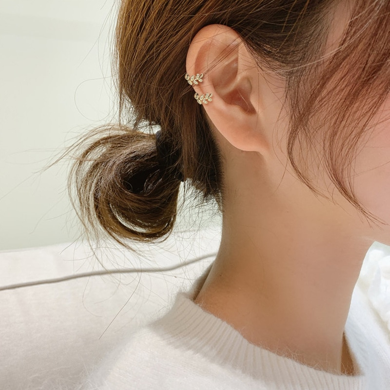 Anting-anting klip daun emas fesyen untuk perhiasan wanita manset - Perhiasan fesyen - Foto 2