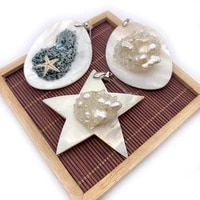 natural freshwater shell pendant pentagram inlaid crystal pearl color abalone shell exquisite jewelry necklace bracelet pendant