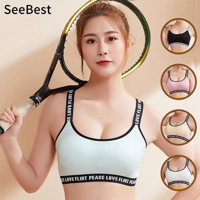 SeeBest מרופדת Wirefree חזייה למעלה נשים מכתב קצוץ חולצה תחתוני Bustier יוגה ספורט Homewear חולצות קצר חולצות חולצה