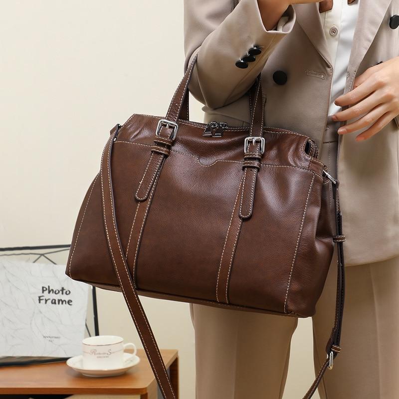 Vintage Real Genuine Leather Satchel Crossbody Bags Female Designer Luxury Big Handbags For Women Shoulder Hand Sling Messenger