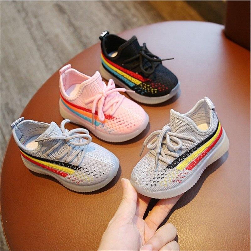 2020 crianças meninas meninos sapatos respirável meninas esporte sapatos casuais sapatos planos 3 cores 21-32 A-35 tx09