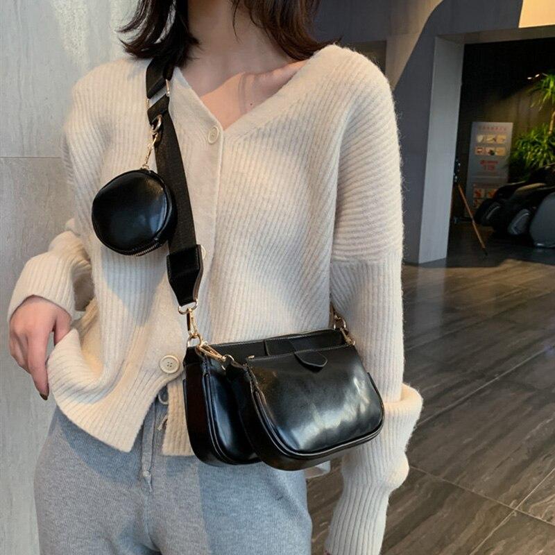 Moda tres en uno bolsos de diseñador bolsos de hombro de lujo pu cuero bandolera de mensajero cusual Bolso pequeño 3 bolsa set 2020