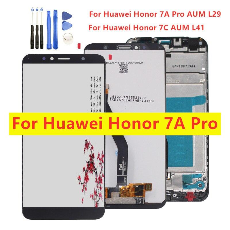 "5,7 ""Nuevo LCD para Huawei honor 7A pro aum-l29 honor 7c Aum-L41 Digitalizador de pantalla táctil pantalla LCD con marco Assembly Replacement"