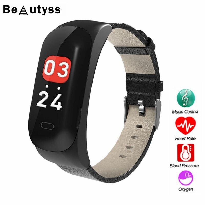 Beautyss 2019 nuevo Color pulsera reloj inteligente hombres amazfit bip Fitness rastreador pulsera Frecuencia Cardíaca presión arterial podómetro