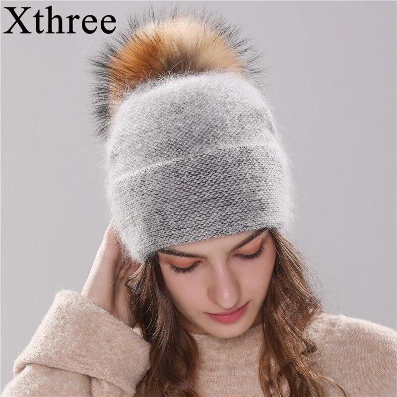 Xthree nieuwe vrouwen hoed winter beanie gebreide hoed Angola konijnenbont Motorkap meisje hoed herfst vrouwelijke cap met bont pom pom